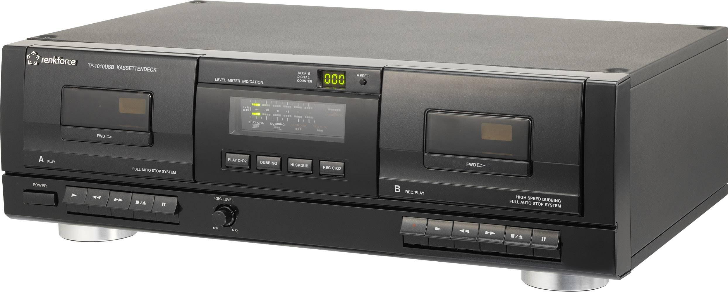 Registratore musicassette Renkforce TP-1010USB Nero Doppio vassoio per cassette, USBPer la digitalizzazione