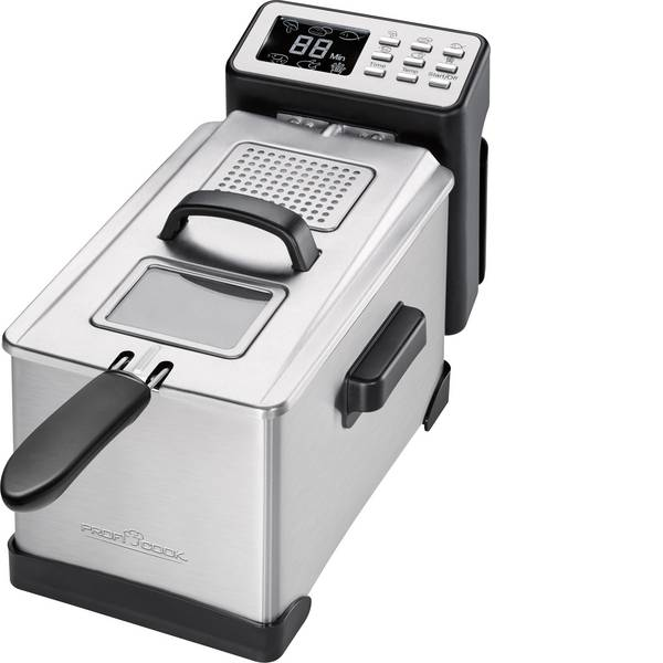 Friggitrici - Profi Cook PC-FR 1087 Friggitrice 2000 W con display Acciaio, Nero -