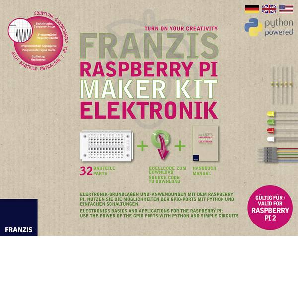 Kit esperimenti e pacchetti di apprendimento - Kit per i Makers Franzis Verlag Raspberry Pi Maker Kit Elektronik 65339 da 14 anni -