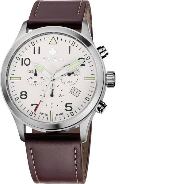 Orologi da polso - SWIZA Quarzo Orologio da polso 78039 (Ø) 42 mm Acciaio Materiale cassa=Acciaio inox Materiale (braccialetto)=Pelle di  -