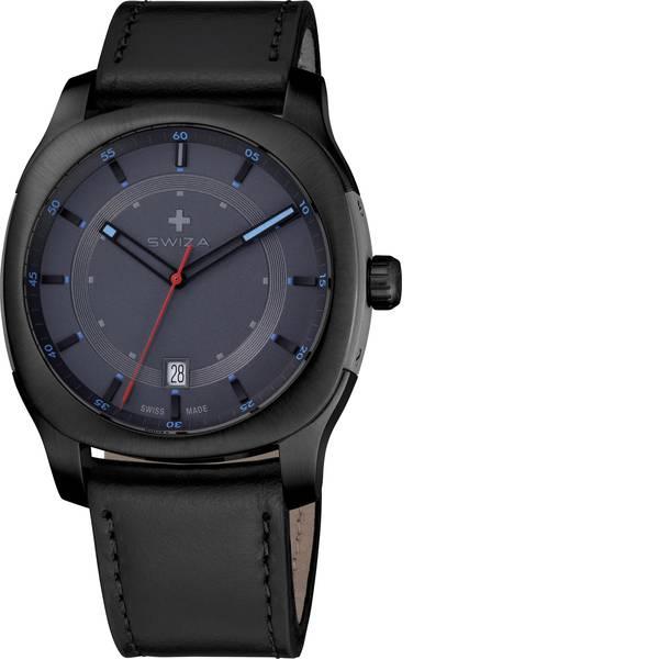Orologi da polso - SWIZA Quarzo Orologio da polso WAT.0541.1202 (Ø) 40 mm Nero Materiale cassa=Acciaio inox Materiale (braccialetto)=Pelle  -
