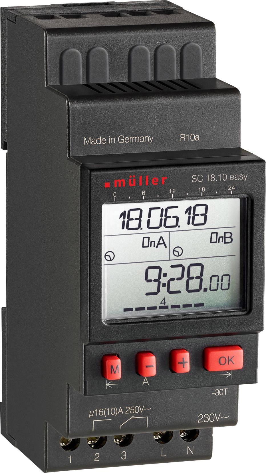 Müller SC 18.10 easy NFC Timer per guida DIN 230 V 16 A/250 V