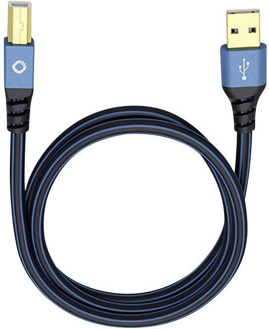 USB 2.0 Cavo di collegamento [1x Spina A USB 2.0 - 1x Spina B USB 2.0] 0.5 m Blu Contatti connettore dorato Oehlbach USB