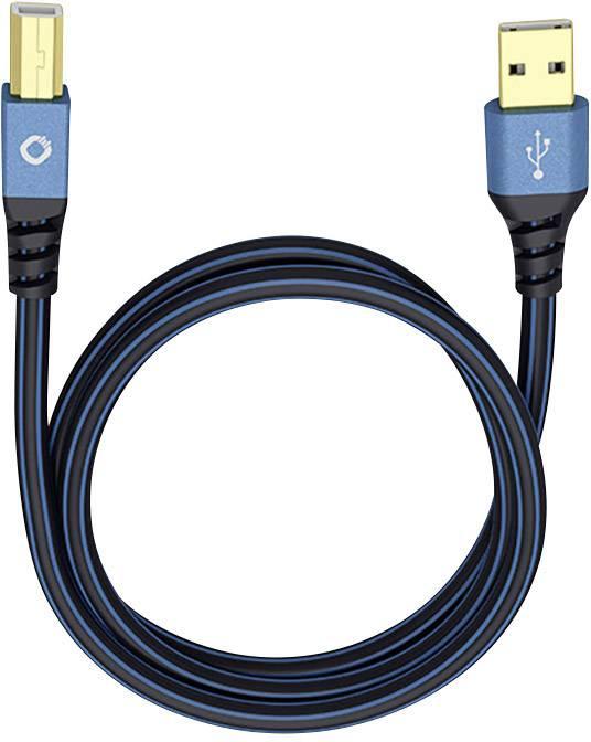 USB 2.0 Cavo di collegamento [1x Spina A USB 2.0 - 1x Spina B USB 2.0] 1 m Blu Contatti connettore dorato Oehlbach USB