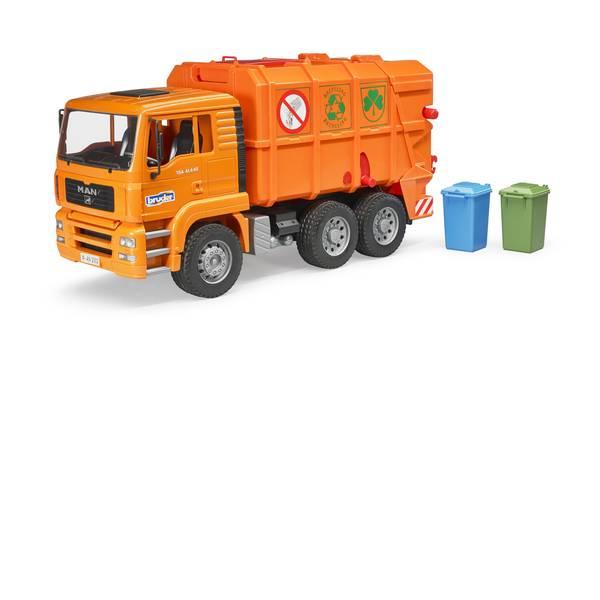 Veicoli industriali e veicoli da cantiere - Camion immondizia con caricatore posteriore arancione MAN TGA Bruder -