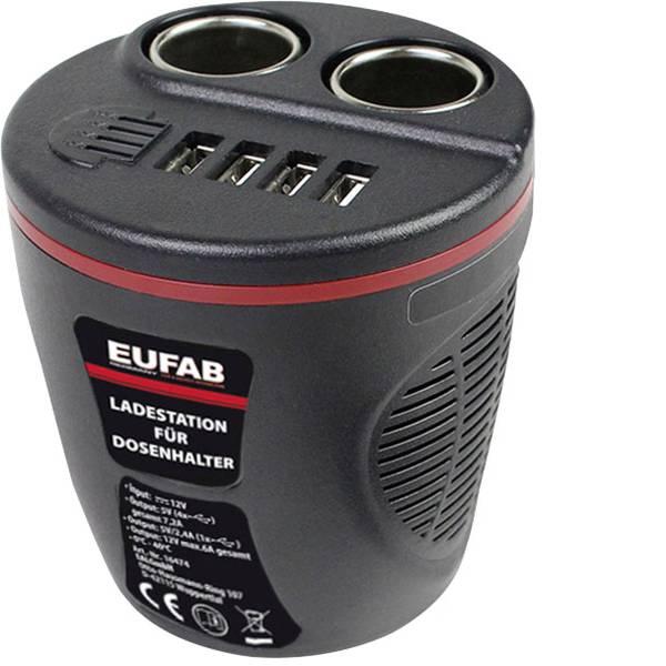 Multiprese per accendisigari - Distributore accendisigari Numero di accendisigari 2 x Interfacce: USB 4 x Portata massima corrente 13.2 A Eufab 16474 -