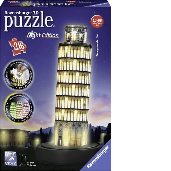 Puzzle - Ravensburger 3D Puzzle Torre ardesia di Pisa di notte -