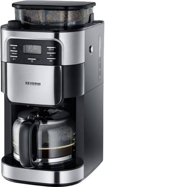 Macchine dal caffè con filtro - Severin KA 4810 Macchina per il caffè Acciaio inox (spazzolato), Nero Capacità tazze=10 Con macina caffè, funzione  -