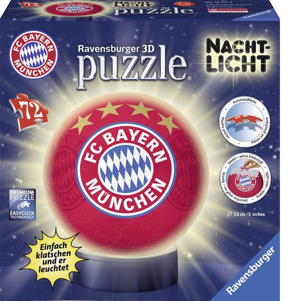 Puzzle - Ravensburger Puzzle FC Bayern Monaco Ball + luce notturna -