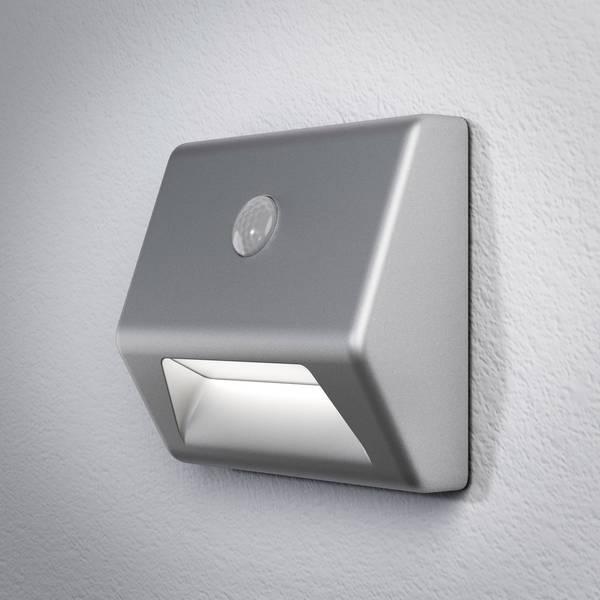 Luci notturne - LEDVANCE NIGHTLUX Stair 4058075030619 Luce notturna LED con sensore di movimento Quadrato LED Bianco neutro Argento -