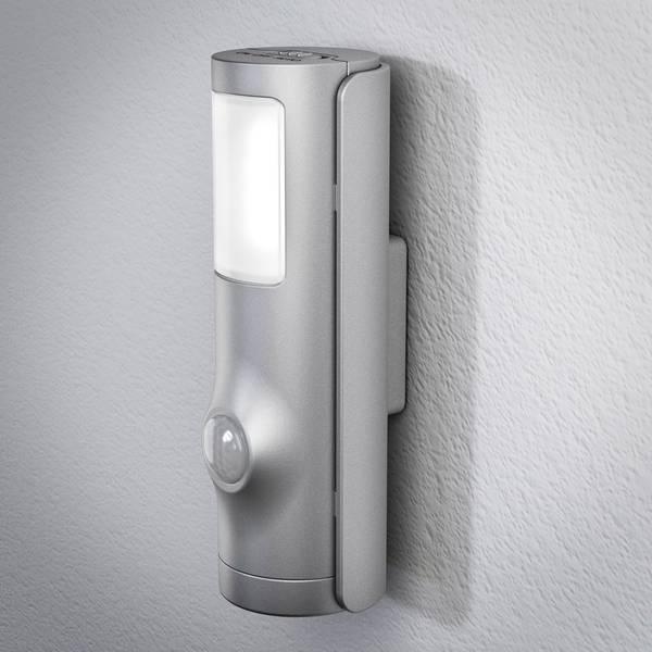 Luci notturne - LEDVANCE NIGHTLUX Torch 4058075027268 Luce notturna LED con sensore di movimento Cilindrico LED Bianco neutro Argento -