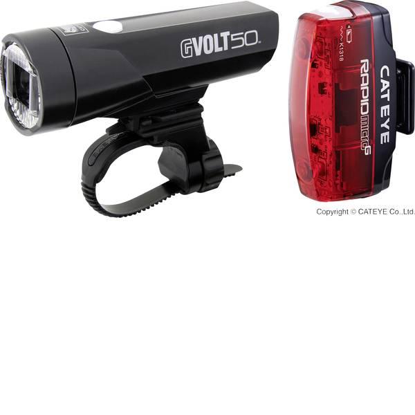 Luci per bicicletta - Cateye Kit illuminazione bicicletta GVOLT50 + RAPID MICRO G LED a batteria ricaricabile Nero, Rosso -