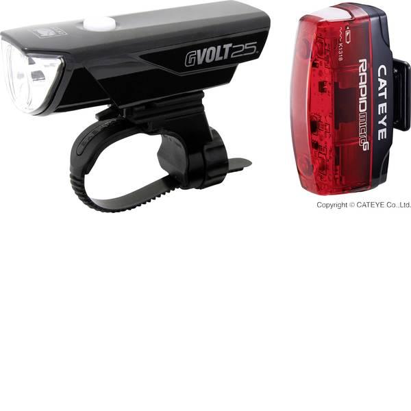 Luci per bicicletta - Cateye Kit illuminazione bicicletta GVOLT25 + RAPID MICRO G LED a batteria ricaricabile Nero, Rosso -