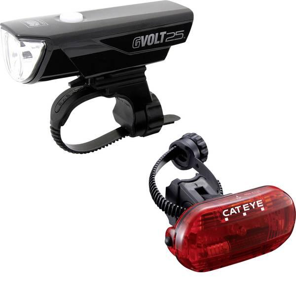 Luci per bicicletta - Cateye Kit illuminazione bicicletta GVOLT25/OMNI3G LED a batteria ricaricabile, a batteria Nero -