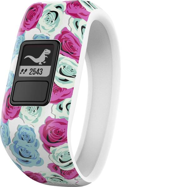 Dispositivi indossabili - Garmin vivofit jr. Real Flower Gr. M Fitness Tracker M Bianco, Blu chiaro, Rosa -