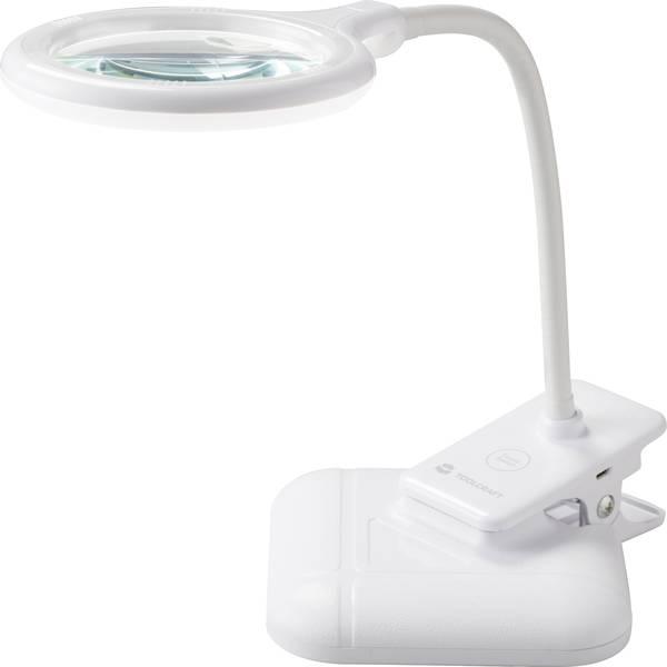 Lampade tecniche e lenti da laboratorio - TOOLCRAFT TO-4786842 Lampada con lente dingrandimento a LED da terra/con morsetto 100 mm -