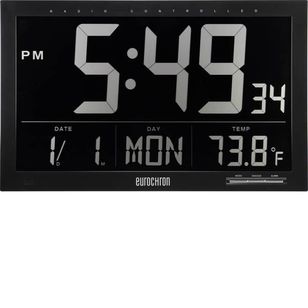 Orologi da parete - Eurochron EFWU Jumbo 101 Radiocontrollato Orologio da parete 370 mm x 230 mm x 30 mm Nero display negativo -