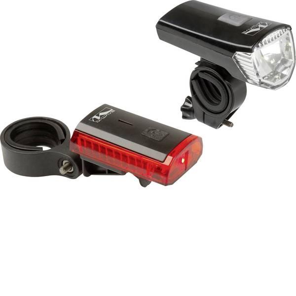 Luci per bicicletta - M-Wave Kit illuminazione bicicletta ATLAS K 11 USB LED a batteria ricaricabile Nero -