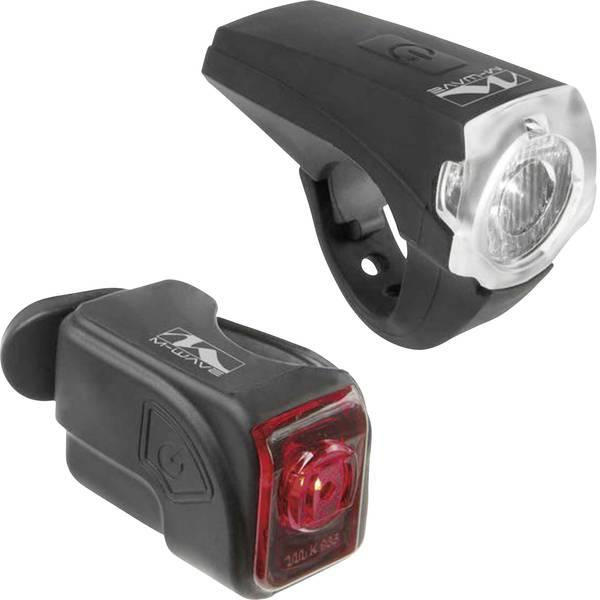 Luci per bicicletta - M-Wave Kit illuminazione bicicletta ATLAS K10 USB LED a batteria ricaricabile Nero -
