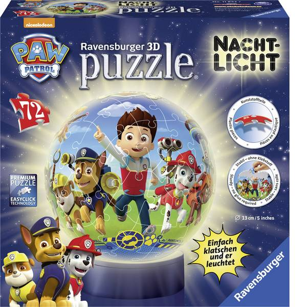 Puzzle - Ravensburger Puzzle Paw Patrol Ball + luce notturna -