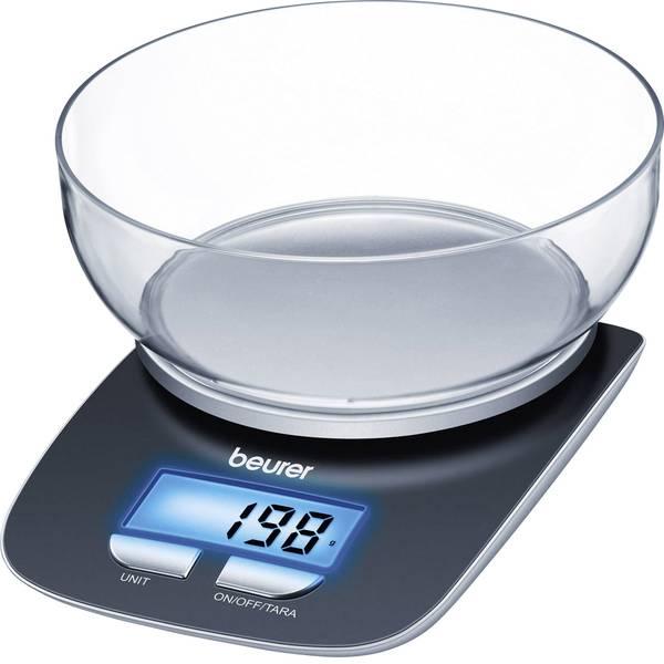 Bilance da cucina - Beurer KS25 Bilancia da cucina digitale digitale, con contenitore di misurazione Portata max.=3 kg Nero -