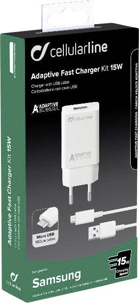Cellular Line ACHSMKIT15WMUSBW Caricabatterie 15W Micro Usb