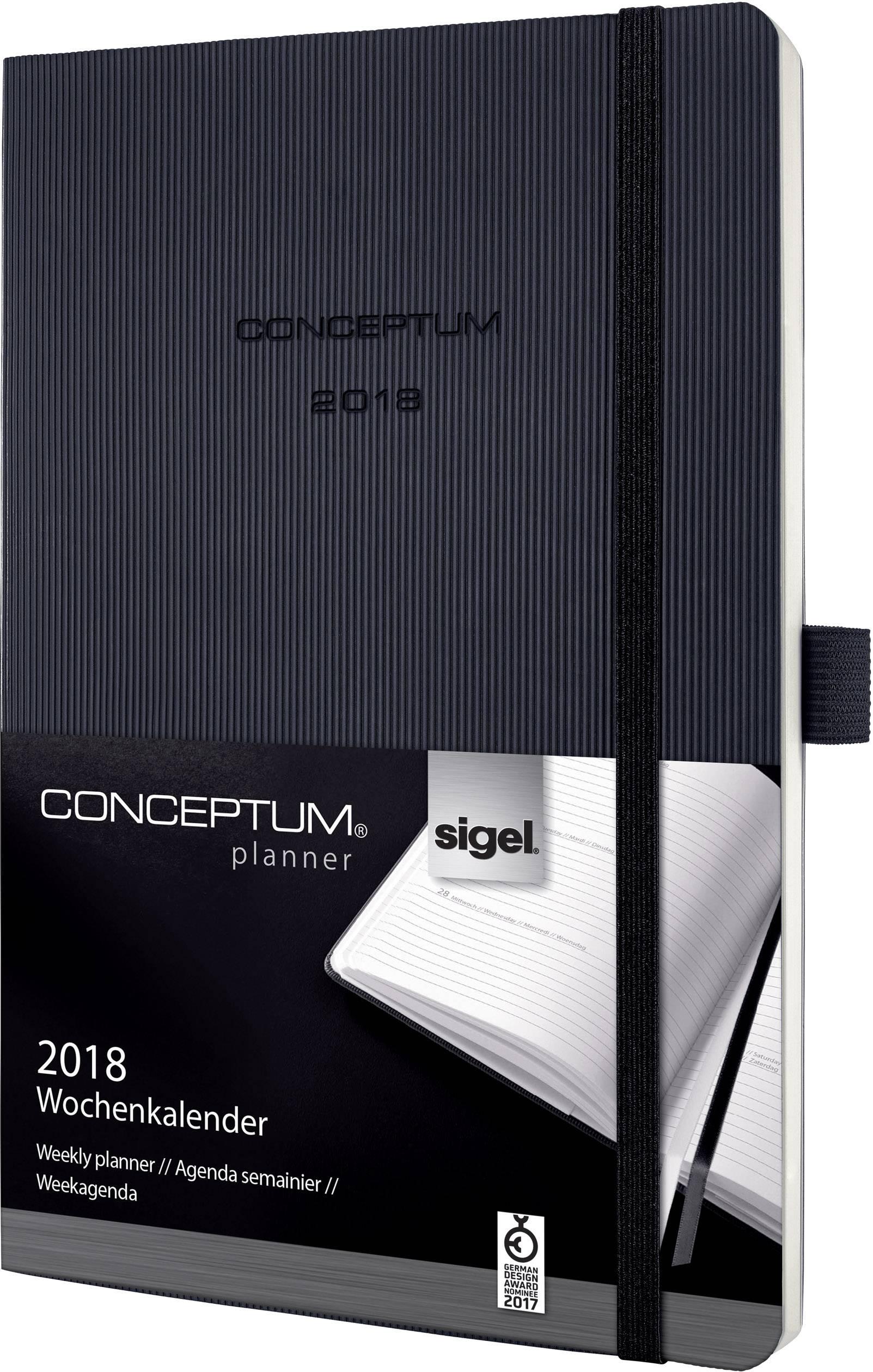 Pagina Calendario Settimanale.Sigel C1822 Conceptum 2018 Calendario Settimanale Soft Cover 192 Pagine Nero 2 Pagine 1 Settimana
