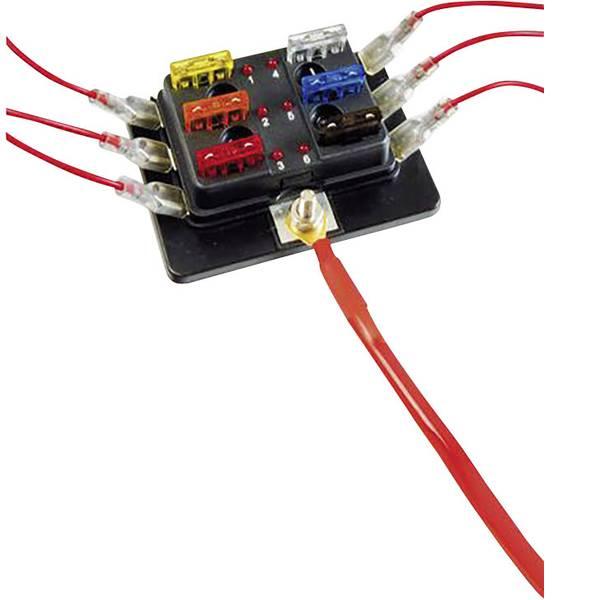 Portafusibili auto - SecoRüt FHA506 LED Distributore Fusibile a lama standard Poli 6 30 A 1 pz. -