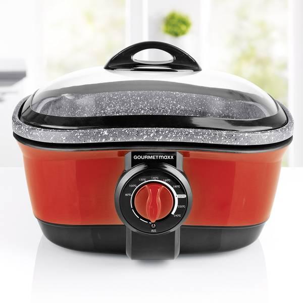 Robot da cucina multifunzione - GourmetMaxx Multifunzione 1500 W Rosso, Grigio - Granito (opaco) -
