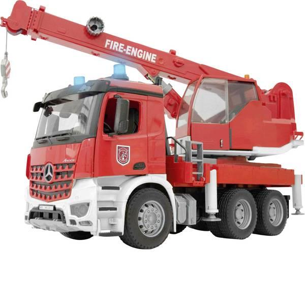 Veicoli industriali e veicoli da cantiere - MB Arocs Bruder con gru dei vigili del fuoco con modulo luce e suono -