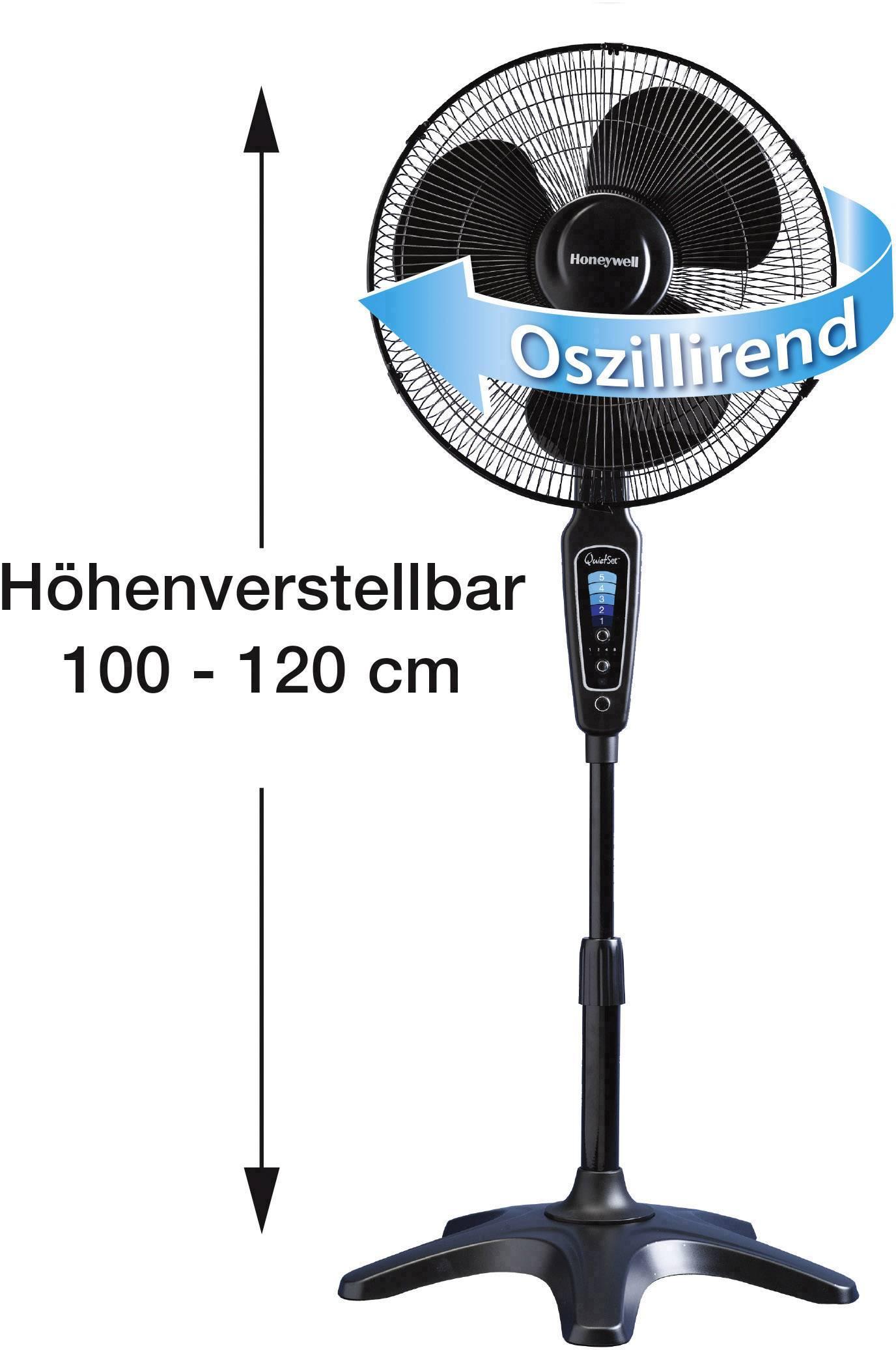 Honeywell HS1655E4 Ventilatore con Altezza Regolabile Nero//Cromo