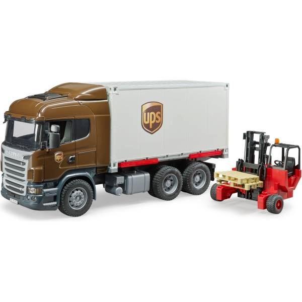 Veicoli industriali e veicoli da cantiere - Bruder Scania R-serie UPS logistica-autocarri con carrello -