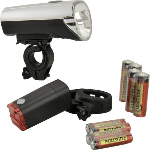 Luci per bicicletta - Fischer Fahrrad Kit illuminazione bicicletta 85330 LED (monocolore) a batteria Argento (opaco) -