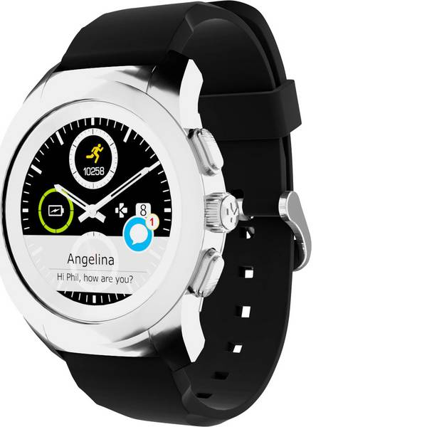 Dispositivi indossabili - Smartwatch MyKronoz ZETIME ORIGINAL REGULAR Col. corpo: Argento Colore (braccialetto): Nero -