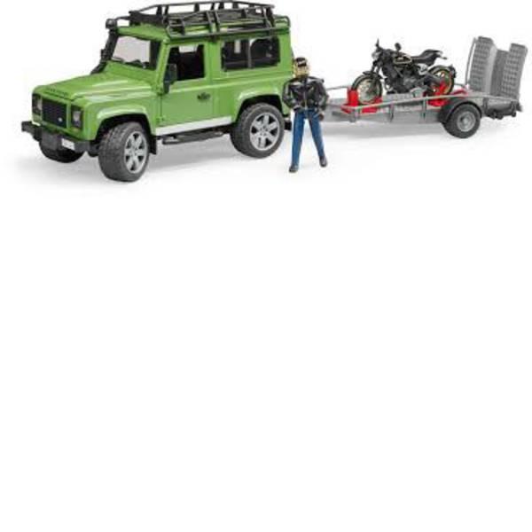 Veicoli senza telecomando - Paese Bruder Rover Defender Station Wagon con rimorchio, ducati scrambler caffè Racer e i piloti -