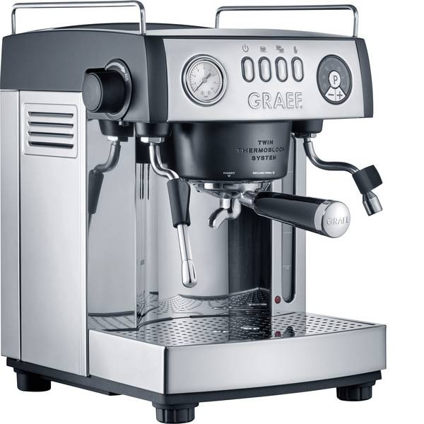 Macchine per caffè espresso - Macchina caffè a filtri Graef ES902EU Acciaio, Nero 2515 W Con ugello schiumalatte -