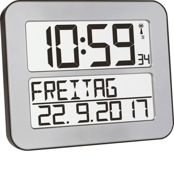 Orologi da parete - TFA 60.4512.54 Radiocontrollato Orologio da parete 258 mm x 212 mm x 30 mm Argento, Nero Display grande -