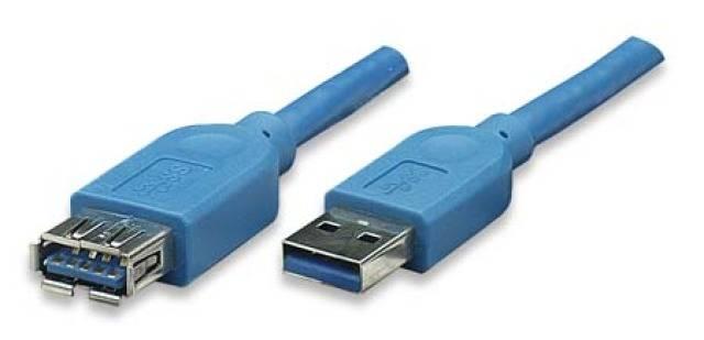 TECHly USB 3.0 Prolunga [1x Spina A USB 3.0 - 1x Presa A USB 3.0] 0.5 m Blu Contatti connettore dorato