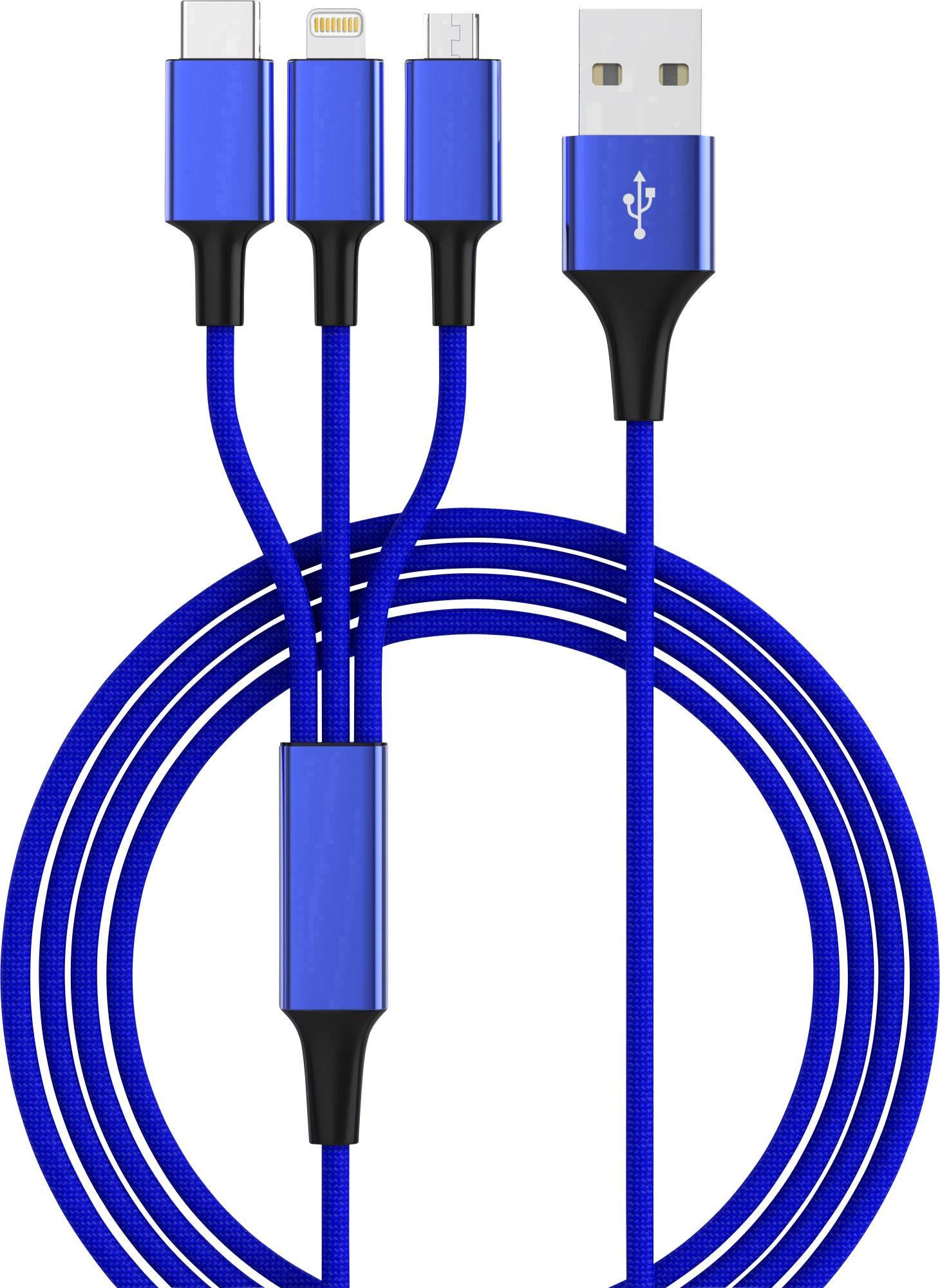 USB 2.0, Apple iPad/iPhone/iPod, USB 3.1 Cavo di collegamento smrter hydra pro 1.2 m Blu