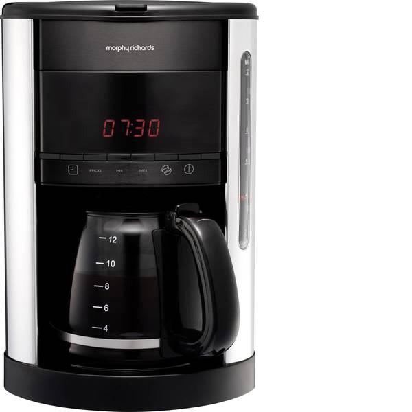 Macchine dal caffè con filtro - Morphy Richards Macchina per il caffè Acciaio, Nero Capacità tazze=12 Caraffa in vetro, Funzione mantenimento calore,  -