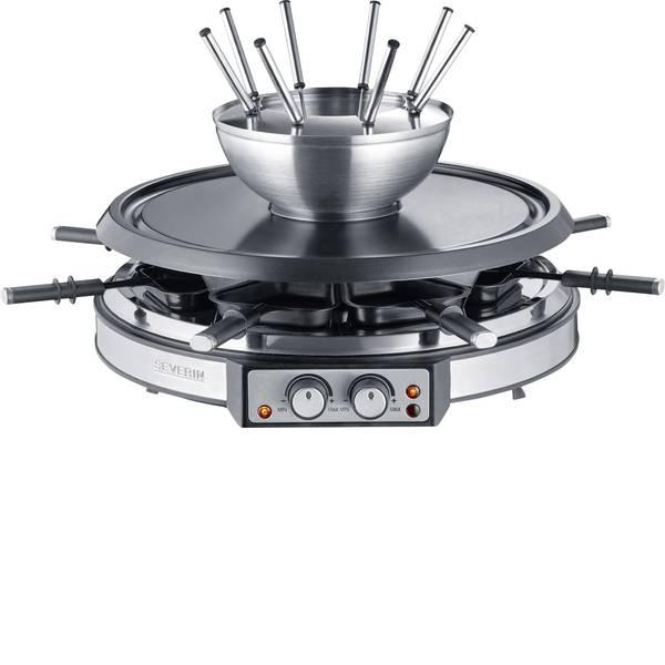 Raclette - Severin RG 2348 Raclette 8 forchette da fonduta, 8 vaschette Acciaio, Nero -