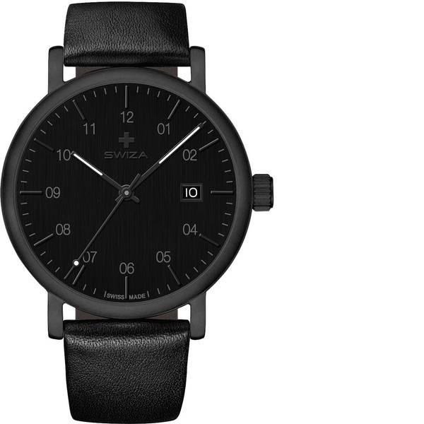 Orologi da polso - SWIZA Quarzo Orologio da polso WAT.0141.1101 (Ø) 40 mm Nero Materiale cassa=Acciaio inox Materiale (braccialetto)=Pelle  -