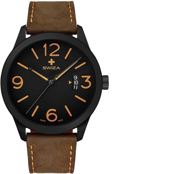 Orologi da polso - SWIZA Quarzo Orologio da polso WAT.0871.1101 (Ø) 48 mm Nero Materiale cassa=Acciaio inox Materiale (braccialetto)=Pelle  -