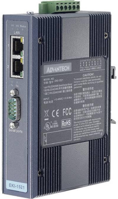 Convertitore di interfaccia RS-232, RS-422, RS-485 Advantech EKI-1521-BE Num. uscite: 1 x 12 V/DC, 24 V/DC