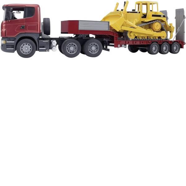 Veicoli industriali e veicoli da cantiere - Bruder Camion Scania R-series con pianale ribassato e bulldozer CAT 3555 -