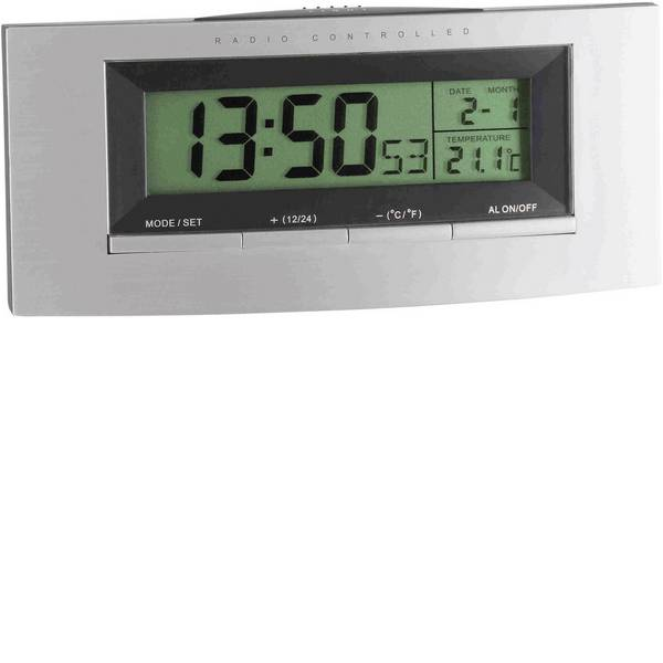 Sveglie - TFA 98.1030 Radiocontrollato Sveglia Argento, Nero -