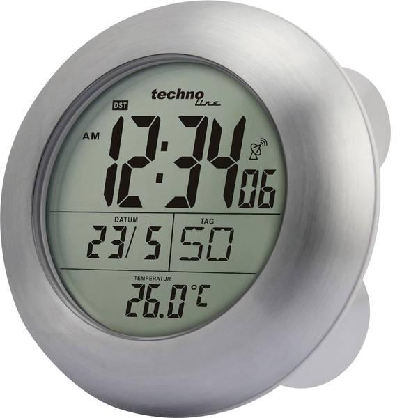Orologi da parete - Techno Line WT 3000 Radiocontrollato Orologio da parete 17.2 cm x 5.4 cm Argento Adatto per bagno e ambienti umidi -