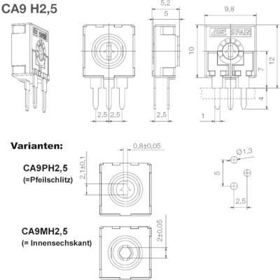 Trimmer a strato di carbone ACP CA9MH2,5-2K5A2020 lineare 0.15 W 2.5 kΩ 220 ° 240 ° 500 pz.