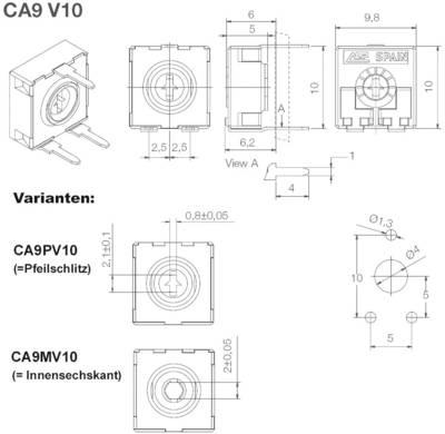 Trimmer a strato di carbone ACP CA9PV10-5KA2020 lineare 0.15 W 5 kΩ 220 ° 240 ° 500 pz.