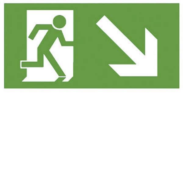 Segnaletica per uscite d`emergenza - B-SAFETY F563-E Indicazione via di fuga verso il basso a destra -